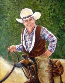 man on pleasure horse ride painting