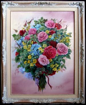Roses and Hydrangas in Oil Painting