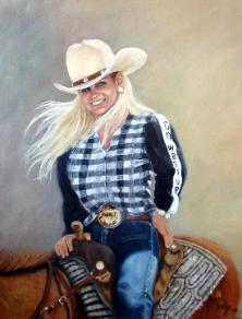 female rider on horseback close up painting