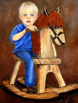painting christian playing cowboy on a rocking horse