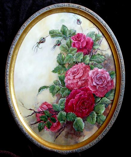 Oval Oil Painting of Pink and Red Roses by Rose Artist Brenda Helps
