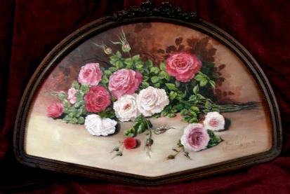 colored roses with oil paint